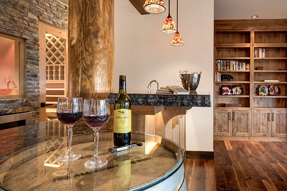 Bar with wine room access.