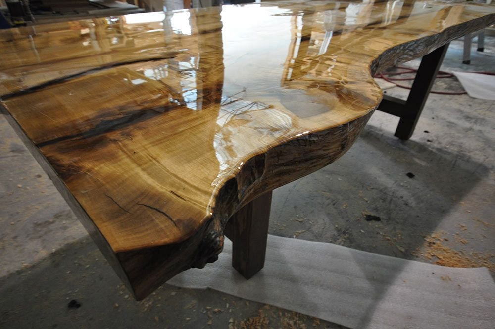 Hand scraped custom live edge dining room table.