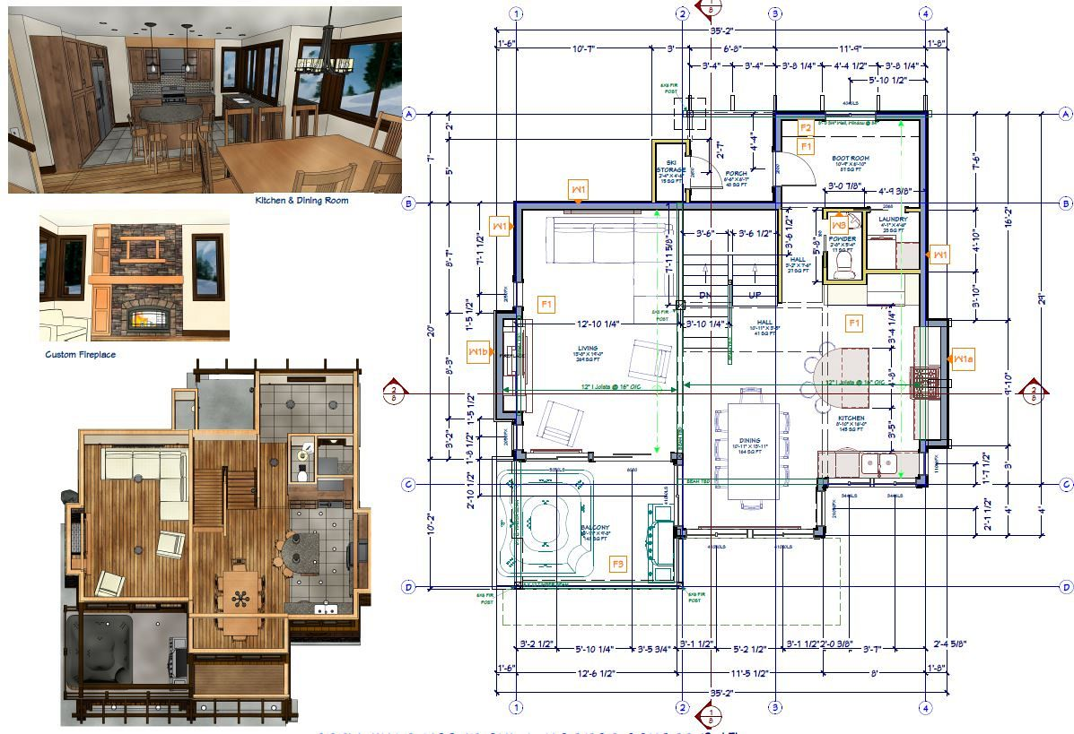 Floor plans with space overview and renderings