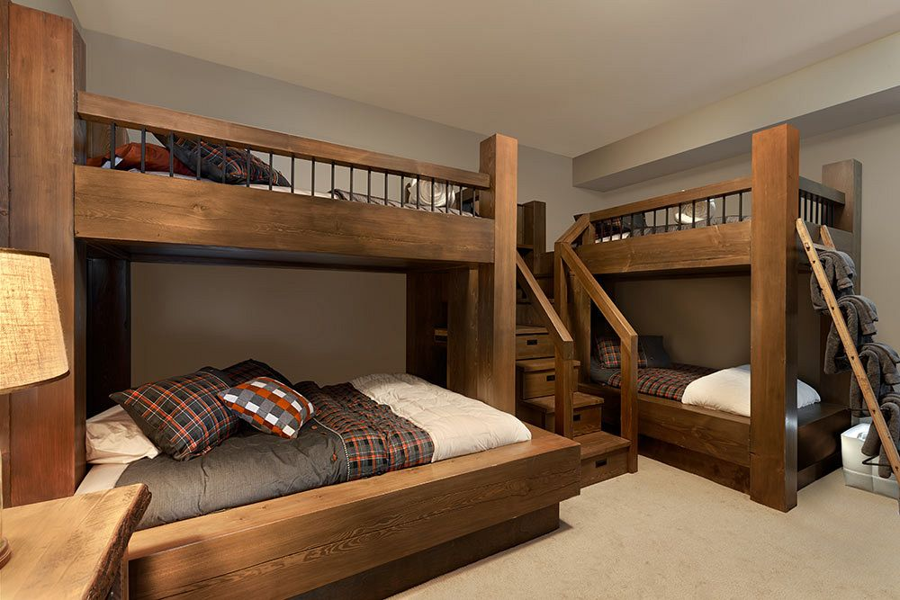 Custom bunks with timbers and drawers in steps.